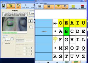 Comunicatore oculare con Tastiera-a-scansione: scelta-lettera