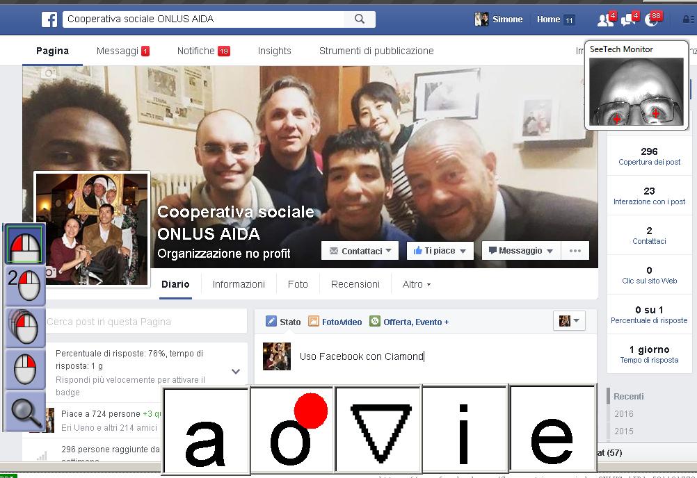facebook con Puntatore oculare CiaoMondo Seetech