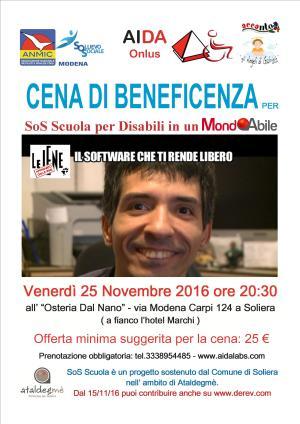 """Cena di beneficenza per """"SoS Scuola per disabili"""""""