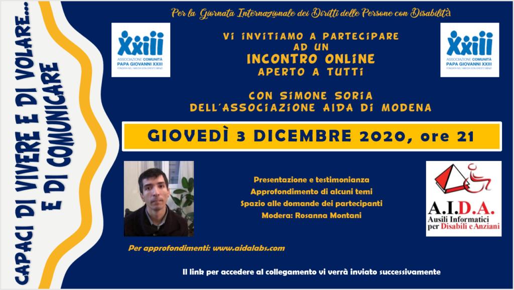 Giornata Internazionale delle persona con Disabilità:  Locandina evento comunità Papa Giovanni XXIII
